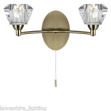 SEARCHLIGHT 2632-2AB SIERRA DOUBLE WALL LIGHT ANTIQUE BRASS/GLASS FINISH