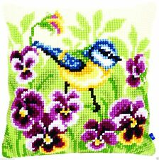 Bluetit On Pansies Chunky cross stitch cushion front kit 40x40cm By Vervaco