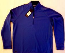 Adidas Golf mens $60 long sleeve quarter zip stand up collar Shirt vivid blue M