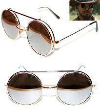 Django Round Shape Flip Up Sunglasses Metal Gold Frame Silver Mirrored lenses