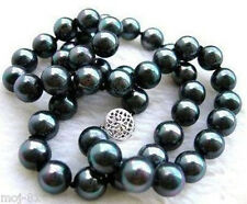 "New Genuine 10mm black south sea shell pearl necklace 18"" AAA"