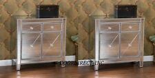 PAIR of Glam Mirrored Dresser Bedroom Chest Drawers Furniture Nightstand Decor