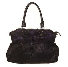 Banned Apparel Elegant Flocked Gothic Steampunk Fatale Handbag Black Purple