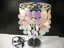 Contemporary Silver Lamp with Pink Iridescent Dangling Discs