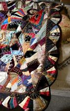 1880 CRAZY QUILT JEWEL COLORED SILK & SUMPTUOUS FABRIC EMBROIDERIES SCALLOP EDGE
