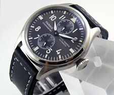 47mm parnis polished case mechanical Power Reserve black dial Leather Watch P066