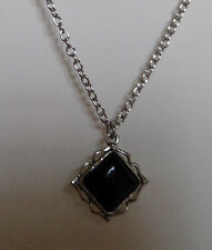 REVERSIBLE BLACK ACRYLIC TILTED SQUARE PENDANT FANCY EDGE SILVER PLATED 18 INCH