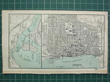 1904 SMALL MAP ~ DOMINION OF CANADA ~ TORONTO CITY PLAN STATIONS PARKS STREETS