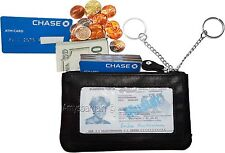 Leather Change Purse bag Wallet purse mini pocket business card case key ring BN