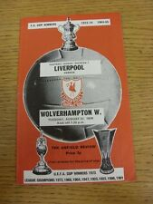 27/08/1974 Liverpool v Wolverhampton Wanderers  (Team Changes)