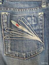 JOE'S JEANS 25 Embroidered Distressed Stretch Straight Leg Flare Boho Jeans EUC
