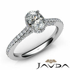 Classic Oval Diamond Pave Set Engagement Ring GIA E VS1 Clarity Platinum 1.37Ct