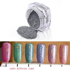 2g/Box Holographic Chrome Nail Powder Glitter Laser Rainbow Dust Decorations