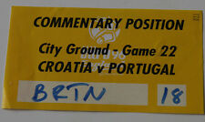 OLD TICKET EURO 1996 * media pass * Croatia - Portugal in Nottingham