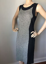 NEW  ST JOHN KNIT 12 WOMENS DRESS  BLACK & VANILLA COLOR BLOCK  WOOL RAYON