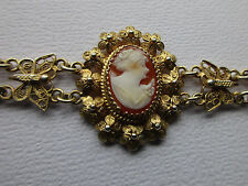 Edwardian Carved Shell Cameo Gilded Filigree 800 Silver Butterfly Bracelet