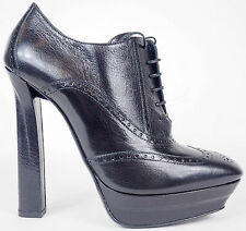 Bottega Veneta Nero Leather Wingtip Lace Up Platform Heels Shoes 36.5 6 $950