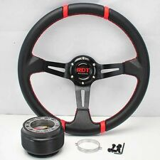"BLK/RED DEEP DISH 13.5"" STEERING WHEEL +HUB FOR 95-95 CIVIC EG 94-01 INTEGRA"