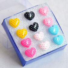 Lot Candy Colors 6 Pairs Heart-shaped Earrings Random Color ED021