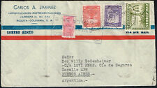 """2586 COLOMBIA TO ARGENTINA AIR MAIL COVER 1950 """"CORREO AVIANCA"""" BOGOTA - Bs. As."""