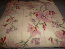 Cannon King Floral Vines Buds Stripes Flat Sheet Pink Lavender Red Green Cream