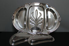 Vintage Victorian Rose Wm Rogers & Son Silver Plated Meat Tray with Well Covers