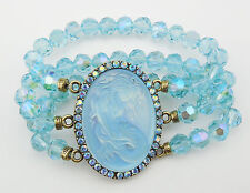 KIRKS FOLLY LORELEI DIVA MERMAID STRETCH BRACELET  BT/ BLUE ZIRCON CRYSTAL