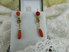Victorian Antique 18ct Gold Coral & Pearl Long Drop Earrings