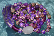 Purple Sea Sediment Jasper Knotted Mala Beads Necklace - Harmony in relationship