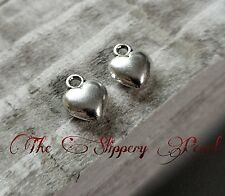 Heart Charms Pendants Antiqued Silver Puff Heart Charms Love Charms 10 pieces
