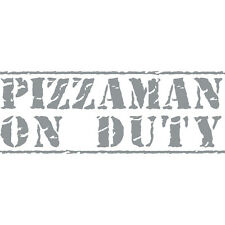 Pizzaman On Duty Pizza Delivery Funny Car Window Bumper Vinyl Decal Sticker Grey