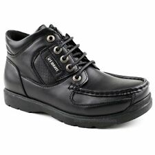 new MENS  rugged black ankle boots casual WORK  smart lace up shoes size uk 9/43