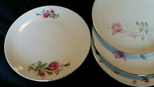 4 Vtg WHITE PINK ROSE Mismatched China Dinner Plates, Shabby Chic Wedding DP4