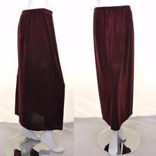 VINTAGE 90's Burgundy Velvet Midi Skirt 12 14 16 Grunge Retro Nineties Slit