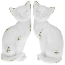 White Cat Statue Ornament Distressed Finish Shabby Chic Figurine
