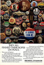 1988 GENERAL DYNAMICS AD Political Buttons Photo`They pinned hopes on peace