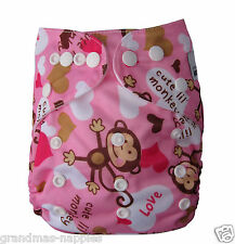 MODERN CLOTH NAPPIES MCN DIAPERS REUSABLE CLOTH NAPPY Girl Monkey