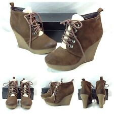 Diesel New Sexy Brown Suede Leather Platform Wedge Boots Fur Booties SZ 38 8