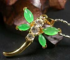 Gold Plate CHINESE Icy Green JADE Pendant Dragonfly Butterfly Necklace 263299