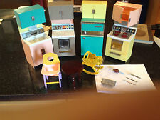 Vintage Mid 60s Mini Barbie Kitchen Set with Fridge, Sink, Washer, and Stove