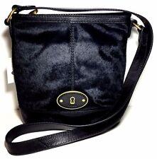 Fossil Vintage Vri Tz Black Leather/calif Hair Bucket Cross-body Shoulder Bag