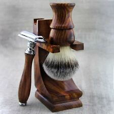 3 Pieces Wooden Shaving Set For Men's With Synthetic Hair Brush&DE Safety Razor.