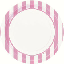 LOVELY PINK AND WHITE STRIPES LARGE PAPER PLATES (8) ~ Party Supplies Birthday