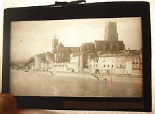 Plaque photo Pont-Saint-Esprit Le chantier naval église Saint Saturnin vers 1920