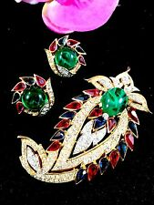 1965 CROWN TRIFARI JEWELS OF INDIA RHINESTONE CABOCHON JIGHA BROOCH EARRINGS SET