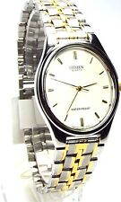 New Citizen Men Two-tone, Oval White-dial Dress Watch 0041