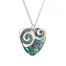 Paua Shell Two Tone Plectrum Swirl Pendant Silver Chain Necklace - Blue / Green