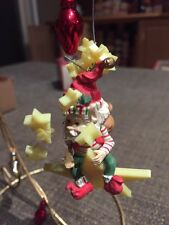 ENESCO CHRISTMAS ORNAMENT: WEE TREE TRIMMER/NORTH POLE VILLAGE ELF SPARKLES new