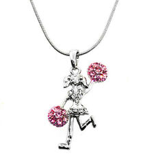 "Silver Color Cheer Leader Charm Pendant with Pink Crystals and 16"" Chain"