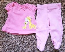 Girl's Size Preemie 2 Piece Pink Giraffe Carter's Top & Koala Baby Footed Pants
